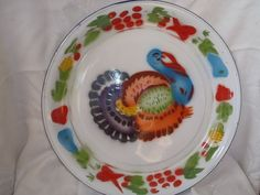 "Vintage thanksgiving enamelware turkey platter large round 17 3/4"" diameter"