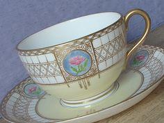 Antique Teacup and Saucer, Royal Worcester Tea cup, gold tea cup, English tea…