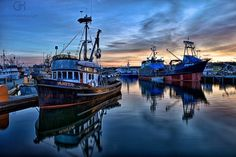 Fishing Boats in First Light was taken at the Fishermen's Terminal in Seattle.  Photo Credit - Gary Hamburgh    www.WashingtonStateDestinations.com