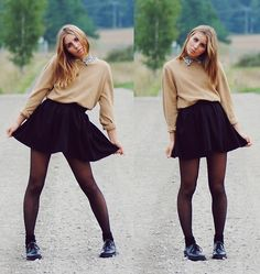 "2hand Black ""School"" Skirt, 2hand Light Brown Sweater - Back to old school - Alva Harju"