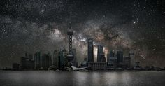 French artist Thierry Cohen imagines the world's largest cities under clear night skies. Thierry Cohen, Photography Projects, Art Photography, Travel Photography, Shanghai, Clear Night Sky, Ciel Nocturne, Urban Concept, Light Pollution
