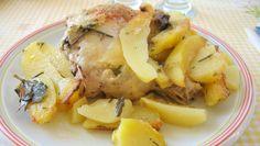 Pollo ripieno al forno con patate