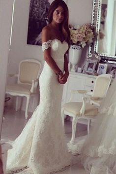 Charming Mermaid Long Wedding Dresses, Formal Off Shoulder Wedding Gown, SW120 #weddinggowns