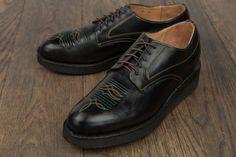 Yuketen black horween leather bluchers on vibram sole