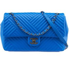 Pre-Owned Chanel A93097 Blue Chevron Lambskin Leather Flap Crossbody... ($5,500) ❤ liked on Polyvore featuring bags, handbags, shoulder bags, сумки, blue, quilted handbags, chevron purse, chanel handbags, chevron crossbody purse and crossbody shoulder bags
