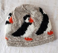 Beige handknitted unisex puffin, woolen hat/ cap made out of pure Icelandic lambs wool, ready to ship - I want a puffin hat! Knitting For Kids, Knitting Projects, Baby Knitting, Crochet Projects, Knitting Charts, Knitting Stitches, Knitting Patterns, Crochet Patterns, Knit Crochet