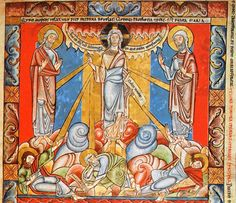 La transfiguration. Miniature de la Bible de Floreffe. 1165ss. Londres, British Library. Add. 17738, folio 4.