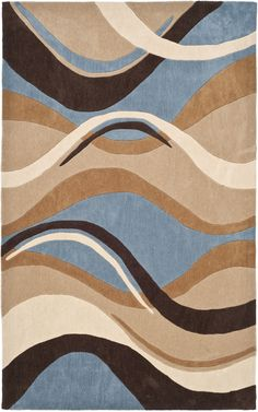Good Modern Art Blue/Brown Rug