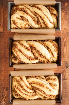 Recipe: Sticky Caramel-Pecan Babka Loaves — Recipes from The Kitchn It all started a few months back when Faith connected me with Jerry James Stone and his Three Loaves project. Jerry's simple idea, an easy intro to giving, is that… Continue Reading → Loaf Recipes, Bread Machine Recipes, Dessert Recipes, Cooking Recipes, Pudding Recipes, Cooking Tips, Pecan Recipes, Dessert Bread, Challah Bread Recipes