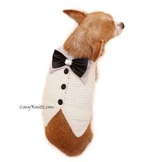 White classy Tuxedo for Dogs with black and silver satin bow. Please feel free to contact us for custom made. If you need size XS, S, or M, please contact me. I will make a new listing for you =) Please kindly check your pets measurements with my pattern size chart to make sure the item fits