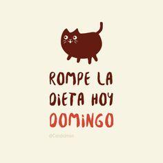"""Rompe la #Dieta hoy #Domingo"". @candidman #Frases #Humor #Gato #Candidman"