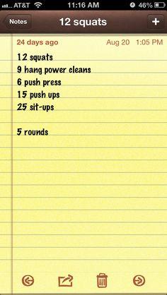 12-9-6 Crossfit WOD - squats, cleans, push press, pushups, sit ups