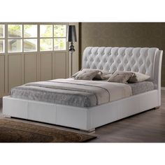 Baxton Studio Bianca Modern and Contemporary Faux Leather Upholstered Full-sized Platform Bed with Tufted Headboard