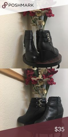 💜Buckle Booties💜 Cute wedge buckle booties. Worn with love. 🖤 Excellent condition. Shoes Ankle Boots & Booties