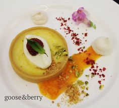 Lemon Tart, Raspberries & Raspberry Cream  #dessert #pudding #tart #seasonal #local #delicious #perfect #caterers #bestofbritish #events #London #Buckinghamshire #Marlow #corporate #wedding