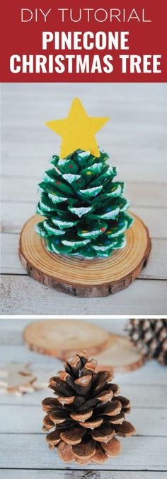 Learn how to make this super easy pinecone Christmas tree craft. All you need are pinecones, some paint and an optional wooden star and base. Wooden Christmas Crafts, Pinecone Crafts Kids, Holiday Crafts, Christmas Diy, Pinecone Decor, Christmas Crafts With Pinecones, Pine Cone Crafts For Kids, Minimal Christmas, Toddler Christmas Crafts