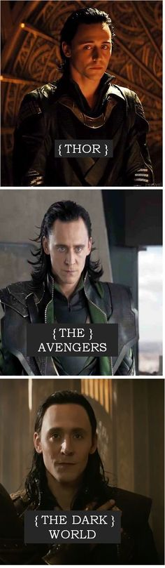 love that you can actually see the transition in Loki's character...I know its partially makeup....but I believe Loki has grown and changed more visibly than Iron Man or Thor in their movies. Credit to great acting