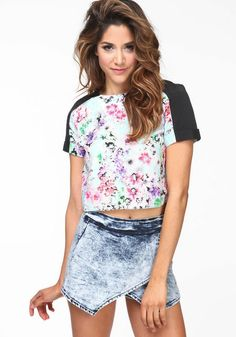 984774a76c Silky Bloom Crop Top  floral  print  graphic  tee  contrast  croptop  spring   newarrivals  loveculture
