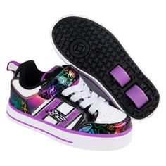 Heelys X2 Bolt Plus Light Up - White Black Rainbow Hearts  bdb92518070e