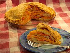 Savory Vegetable Vegan Pie recipe - a luscious layering of root vegetables in a flaky crust! #earthbalance