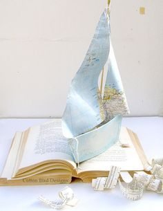 Paper Boat Mixed Media Sculpture, one of a kind artwork this is the actual piece you will receive. One of a small collection of boats made