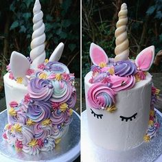 unicorn cake from Einhornkuchen aus Pretty Cakes, Cute Cakes, Beautiful Cakes, Amazing Cakes, Unicorn Birthday Parties, Unicorn Party, Birthday Ideas, 5th Birthday, Rainbow Unicorn