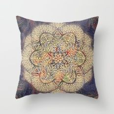 Gold Morocco Lace Mandala Throw Pillow