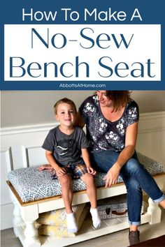 How to Make a No Sew Bench Cushion Top for your built in seating, old table, or hard top bench. Here are the easy to follow steps to upholster a board to put on top of hard seating. With a step by step video to show you how. Diy Furniture Redo, Repurposed Furniture, Furniture Ideas, Woodworking Projects For Kids, Diy Projects, Built In Seating, Building For Kids, Bench Cushions, Diy Home Improvement