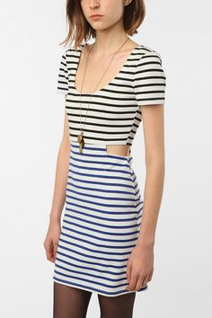 Lucca Couture Cutout Dress...Love the contrast in stripe colors and the subtle cutouts.