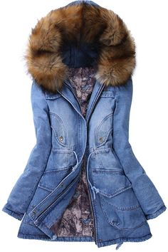 Cheap coat suit, Buy Quality jacket coat directly from China coat burberry Suppliers: Winter Women cotton Jacket Big Yards Long section Thicken Denim Cotton-padded Casual Parka Coat Fur Collar Hooded cotton coat Denim Coat, Denim Jeans, Jacket Jeans, Fur Jacket, Trench Jacket, Ripped Jeans, Winter Jackets Women, Coats For Women, Stylish Clothes