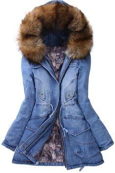 Faux Fur Hooded Collar Long Sleeves Thicken Denim Coat