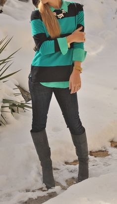 aBree Fashion: navy and teal stripes