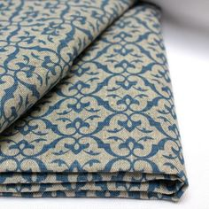 Linen Cotton fabric patterned Brita Blue - Ada & Ina
