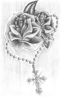 Roses and a rosary tattoo shoulder on to arm piece done - Tatouage nouveau depart ...
