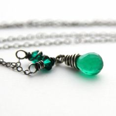 Emerald Bio Chalcedony Necklace Silver Jewelry Antique Silver Genuine Chalcedony Green Necklace Emerald Swarovski Crystal May Birthstone