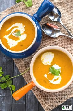 Vegan Butternut Squash Soup is warm, delicious and comforting! It's the perfect soup to serve your guests before the big meal on Thanksgiving!
