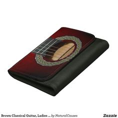 Brown Classical Guitar, Ladies Med Leather Wallet