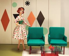 Midcentury-miniature design for Barbie, from Maryann Roy