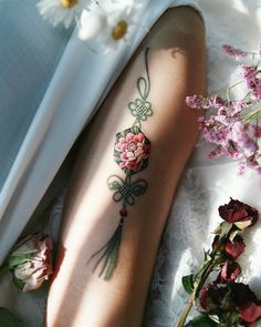 Peony norigae with butterfly knot of green strings, made by in S. Blue Tattoo, Real Tattoo, Pretty Tattoos, Love Tattoos, Mini Tattoos, Small Tattoos, Knot Tattoo, Tattoo Arm, Magic Tattoo