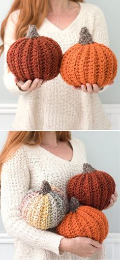 Fun Autumnal Colorful Crochet Pumpkins. These amazing large pumpkins are truly unique and so beautiful! You can be absolutely sure, that they will make your fall decor stand out. And just look how real they look, it's simply amazing! They are eco friendly and will last you forever, so no more wasting pumpkins! #freecrochetpattern #fall #pumpkin