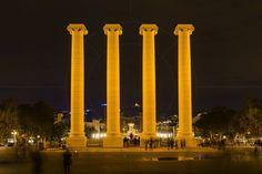 Les Quatre Columnes (The Four Columns} Plaça de Josep Puig i Cadafalch Barcelona Catalonia Spain  www.alamy.com/image-details-popup.asp?ARef=G08HCK  #urban #four #spain #travel #tourism #tourist #architecture #spanish #catalonia #barcelona #montjuic #city #national #landmark #cadafalch #view #europe #blue #symbol #sky #catalunya #quatre #famous #sign #historic #destination #columns #european #history #mediterranean