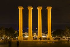 Les Quatre Columnes (The Four Columns} Plaça de Josep Puig i Cadafalch Barcelona Catalonia Spain  www.alamy.com/image-details-popup.asp?ARef=G08HCK  #urban #four #spain #travel #tourism #tourist #architecture #spanish #catalonia #barcelona #montjuic #city #national #landmark #cadafalch #view #europe #blue #symbol #sky #catalunya #quatre #famous #sign #historic #destination #columns #european #history #mediterranean