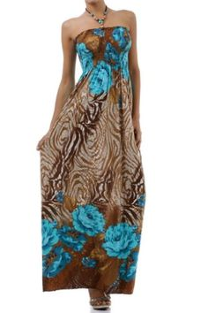 FOZebraRose84A7931 Rose and Zebra Graphic Print Beaded Halter Smocked Bodice Maxi  Long Dress  Turquoise  Small -- See this great product.
