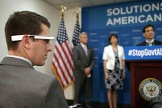 Asking Nancy Pelosi a question through Google Glass