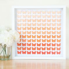 Orange Ombre Butterfly Art - so pretty!- would be a great way to use paint chip cards