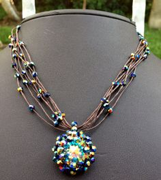 Blue Crystal Necklace Beaded Necklace Tulip   by NazoDesign