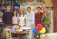 According to this episode the oldest of the group is Phoebe (after learning she is a year older than she thought) and the youngest is Rachel. Also, it is revealed that Joey is older than Chandler.