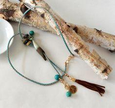 Boho Lariat Necklace Suede Tassel Ceramic Beads Turquoise Peace Charm Boho Chic Lariat & Y Necklace Gold Turquoise Lariat Handmade Summer by BeadIndulgences on Etsy