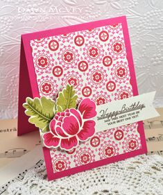 Background Basics: Morocco,  pure poppy and raspberry fizz inks, Rosie Posie, My Favorite Things