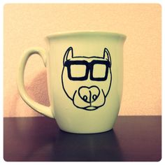 Pitbull Advocate Mug by sunnshhiine on Etsy, $12.20 Probably could freehand and make this myself.